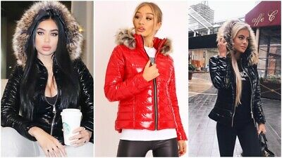 Womens Ladies Quilted Winter Coat Puffer Fur Collar Hooded Shiny Jacket Parka Uk • 29.99£