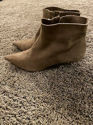 Zara Heeled Short Boots Suede Size 39 Pointed Toe Cute! • 40$