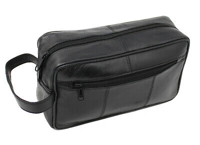 New Mens Soft Black Leather Toiletry Travel Wash Bag Travel Kit Overnight 3510 • 9.99£