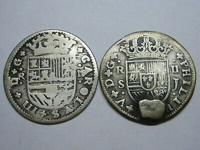 $ CDN59.32 • Buy Spain Charles Iii + Philip V 2 Real Spanish Colonial Century Xviii Silver Coin