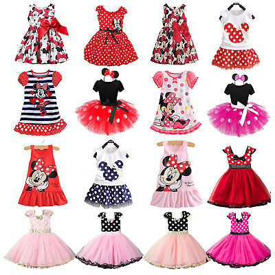 Kids Girls Minnie Mouse Birthday Party Casual Costume Fancy Tutu Dress Outfit • 12.34£