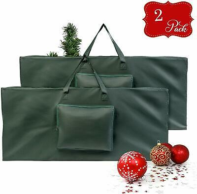 2 X Christmas Decorations Tree Storage Bag Zip Up Sack Handles Storage Organiser • 12.99£