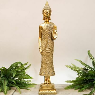 Large Gold Ornate Thai Buddha Standing Statue Ornament Figurine 58cm Crystals  • 39.99£
