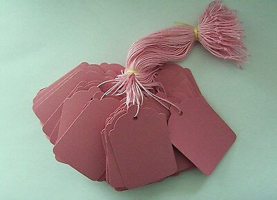 100 Pink Strung Price Tags 69mm X 44mm Swing Tickets Gift Labels • 2.30£