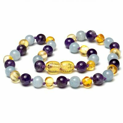 Genuine Baltic Amber Gemstone Necklace Amethyst Aquamarine Amber Beaded 32cm • 16.99£