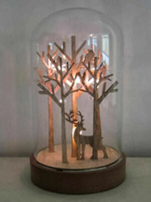Light Up Christmas Glass Dome Bell Jar Cloche LED Nordic Xmas Decoration Deer  • 9.95£