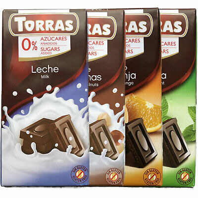 4 Bars Diabetic Gluten Sugar Free Milk Dark White Chocolate Orange Mint Hazelnut • 10.75£