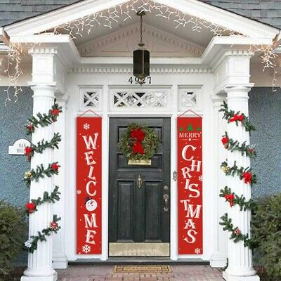$12.64 • Buy Christmas Outdoor Banner Xmas Hanging Sign Indoor Door Display Decal Decorations