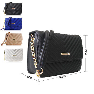 £13.49 • Buy NEW Women's Designer Style Quilted Chain Strap Crossbody Bag Ladies Shoulder Bag