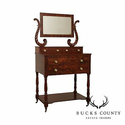 $1895 • Buy Antique Mahogany American Empire Dressing Table With Mirror
