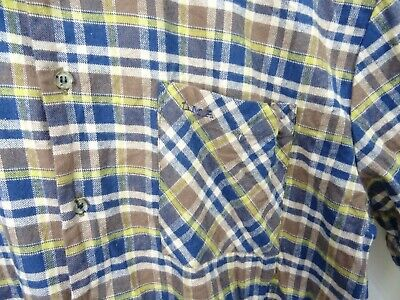 Vintage Brushed Cotton Checked Chunky Lumberjack Shirt Night Smock Long Tunic L • 9.89£