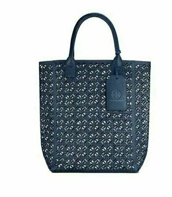 $39.99 • Buy Tory Burch Large Navy Blue Lace Perforated Patent Tote Bag Handbag