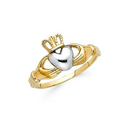 $133 • Buy 14K Yellow White Gold - Women Claddagh Fashion Ring Anillos De Oro (Size 5-9)
