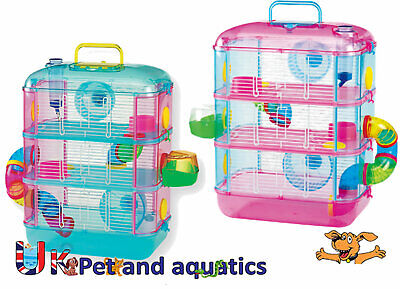 Hamster Cage 3 Storey With Tubes, Pink Or Blue, With Optional Spare Tube Pack • 36.99£