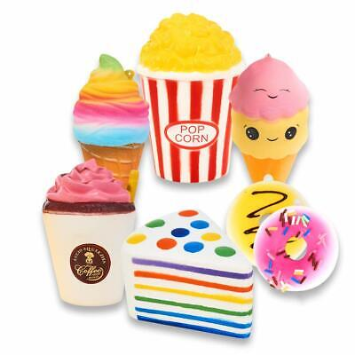 AU51.65 • Buy Slow Rising Jumbo Squishies Set Pack Of 7 - Rainbow Triangle Cake, Frappuccino,