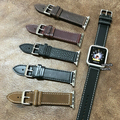 $ CDN14.13 • Buy Apple Watch S1/2/3/4/5 XL Long Military Style Oily Cow Leather Strap Band A-H5