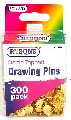 300 Brass Drawing Pins Secure Plastic Case Dome Topped Pins • 1.99£