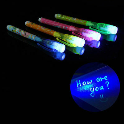 8/1Pcs Invisible Ink Spy Pen With Built In UV Light Magic Marker Secret Message • 2.99£