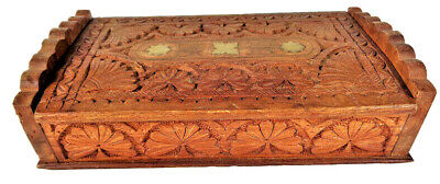 £15.94 • Buy Hand Carved Wooden Box With Brass Inlay Snuff Box Wood Jewelry Trinket Box