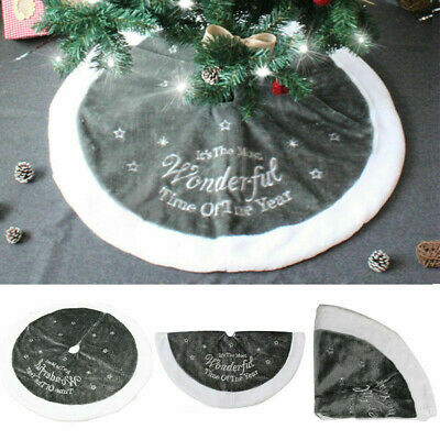 90cm Luxury Grey Fur Christmas Tree Skirt Festive Home Xmas Snowflake Decor  • 7.99£
