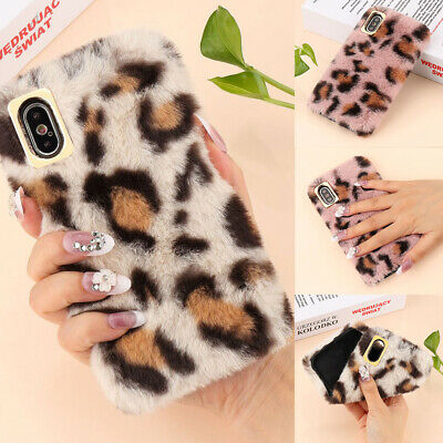 Leopard Print Fluffy Faux Fur Protective Soft Case Cover For IPhone 11 XR XS 7 8 • 4.59£