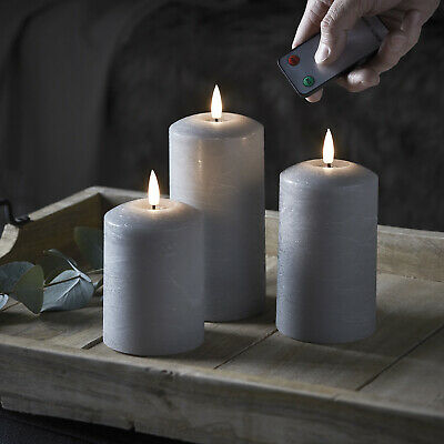 3 Battery LED Flameless Wax Grey Pillar Candles TruGlow™ Timer Remote Lights4fun • 32.99£