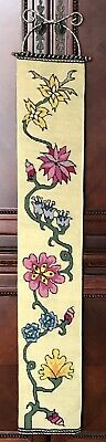 Vintage Embroidered Tapestry Floral Bell Pull Wall Hanging W/Brass End~6 X38  • 29.23£