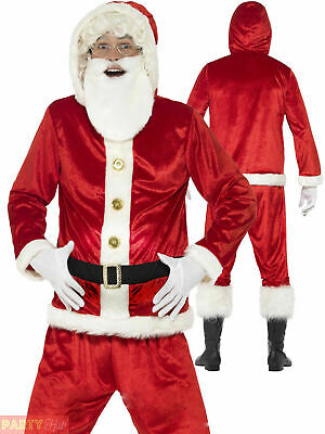 Mens Father Christmas Santa Suit + Padded Belly Costume Christmas Fancy Dress  • 15.95£