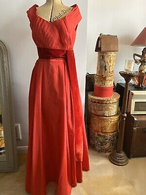 1940s / 50s Vintage  Red Susan Small Long Gown Film Noir 10/12 • 85£