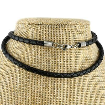 £8 • Buy 4mm Black Braided Genuine Leather Cord Necklace