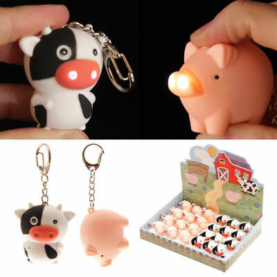 £3.99 • Buy COW / PIG LED Light Up Farmyard Keyring Key Chain Torch Animal Lovers Gift