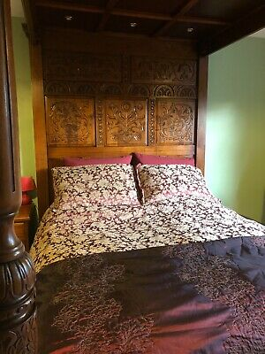 £4500 • Buy Tudor Style Hand Carved Oak Four Poster Bed Wooden Canopy King Size