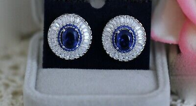 AU139 • Buy Vintage Jewellery Earring With Blue White Sapphires Ear Rings Jewelry