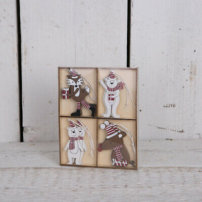 $ CDN10.21 • Buy Set Of 8 Wooden Vintage Hanging Animals Christmas Tree Decorations Ornaments