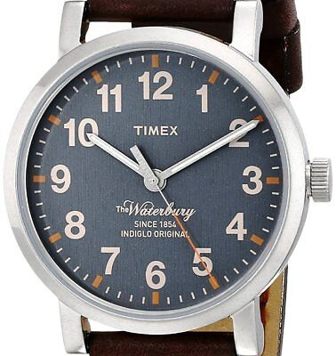 $43.99 • Buy NEW $103 TIMEX Mens Waterbury INDIGLO Leather Strap Classic Watch TW2P58700