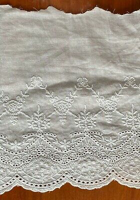 Cotton Embroidered Lace Fabric Trim 1 Yard Width 21 Cm • 6.79£