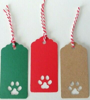 Gift Tags Paw-Print Cut-out Handmade Kraft Card Labels 9x4.5cm Christmas Cat Dog • 3.25£