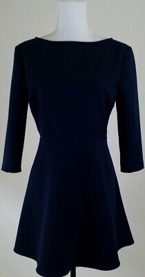 Zara Woman~Size Large~Navy Blue 3/4 Sleeve Fit Flare Cocktail Party Mini Dress. • 29.41$