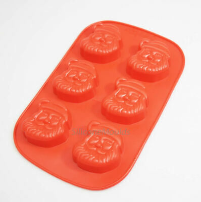 6 Cell Father Christmas Santa Silicone Cake Chocolate Mould Wax Resin Candle 55m • 5.99£