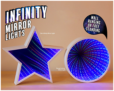 £15.99 • Buy Infinity Mirror Tunnel Light Available In Star Shaped Or Round