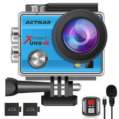 Campark ACT76 Action Camera 4K 16MP WiFi Underwater 30M Remote Control IP68 Case • 28.99£