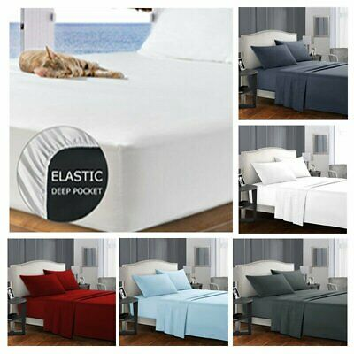 AU29.99 • Buy Ultra Soft 4ps Flat & Fitted Sheet Set Single/Twins/Queen/King Size Bed New