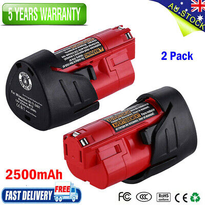 AU26.99 • Buy 2Pack 2.5Ah 12V Battery For Milwaukee M12 Lithium 48-11-2440 48-11-2411 Cordless