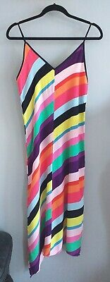 Womens Topshop Assymetrical Multicoloured Rainbow Striped Cami Dress Size 6 • 4.99£