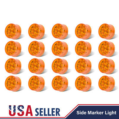 20x 2  Round Clearance Side/Fender Marker 9 LED Amber Light Truck RV Reflectors • 62.10$