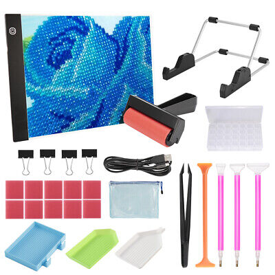 AU30.47 • Buy Diamond Painting A4 LED Light Board Pad Kit 5D Painting Tools W/ Stand Roller