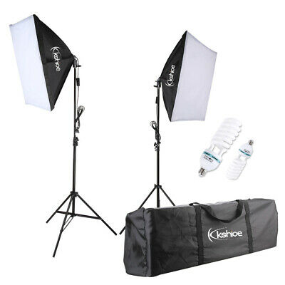 2x 135W Photo Studio Softbox Kit Continuous Lighting Video Light Soft Box Stand • 29.95£