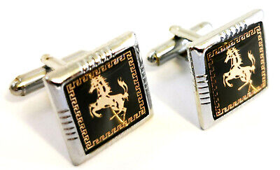Square Ferrari Cufflink with Free Gift Pouch