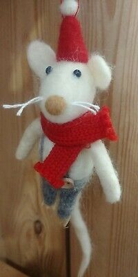 Mr MOUSE Knitted Scarf & Santa Hat CHRISTMAS TREE DECORATION Boiled Wool NEW • 5£