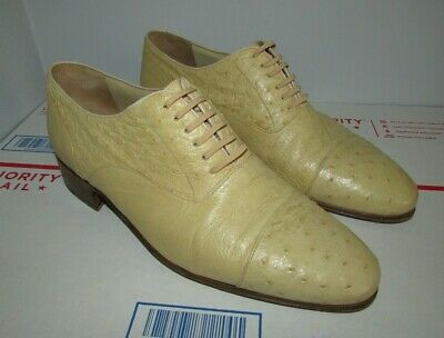 $ CDN463.35 • Buy Star Artioli Ostrich Leather Oxford Shoes Hand Made In Italy Mens US Size 10